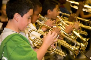 Boys playing trumpet